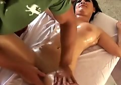 Pornstar getting hot pussy and tit massage