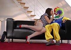 Lara Latex takes a big clown cock in her tight vag - Laras Playground
