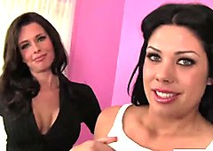Amazing brunette MILF and daughter making a guy very happy