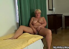 He finds his girlfriends mom inlaw masturbating