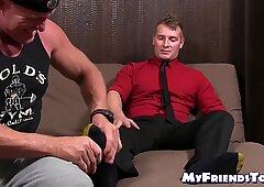 Young homo Jake Karhoff jacks off while foot worshiped
