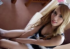Asian bunny has amazing tits and a hairy cunt
