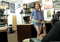 Very tiny tits babe pounded by pawn dude in the office