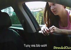 Cumsprayed teen pickedup and doggystyled