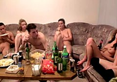 Nudes students drinking and planning group orgy