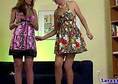 High heeled stocking wearing babe strips