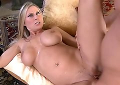 Appetizing busty blonde whore Devon Lee gives a head and fucks missionary style