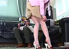 Sexy redhead fucked in white stockings
