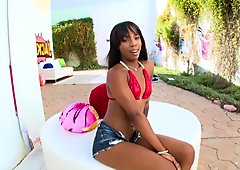 Black girl with braces gags on cock