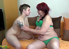 OldNanny Lesbian granny and teen with huge dildo