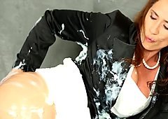 Classy bukakke covered redhead pussyrubbing