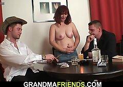 Old grandma involved into threesome fuck