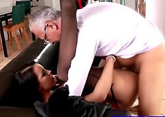 Stockings brunette fucked by old geezer