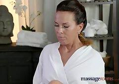 Massage Rooms Horny Milf wanks sucks and fucks hard dick like a pro