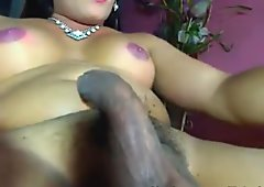 Shemale Stroking her Hard Cock