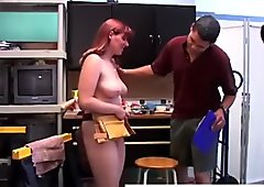 Curvy red head gives a nice sloppy blowjob