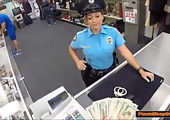 Busty Latina cop sucks Pawnshop owners cock for money