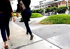 WALKING MILF IN JEANS BLUE
