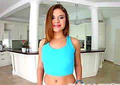 Leggy brunette Emma Brown pleasures herself on Givemepink