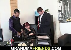 Two Dudes Share Bare Hot Office Lady