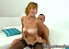 Stockings gilf rides dick