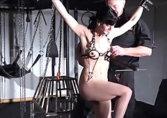 Breaking Elise Graves in hard dungeon tit torture and fetish