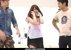 Mayuka Akimoto sucks and fucks in a genuine threesome - More at javhd.net