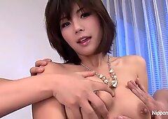 Japanese cutie gets her face & tits showered with jizz