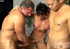 Nude Female Bodybuilder Takes Two Loads and Loves It