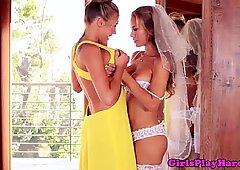 Clit pierced busty lesbian queens bride