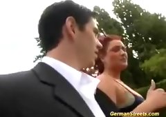 Busty german redhead in outdoor threesome- porn6969.com