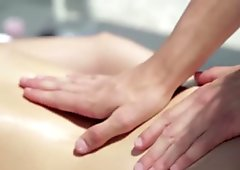 Boy gives massage to her girl