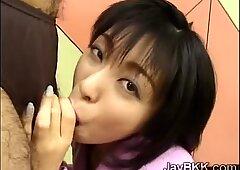 Petite Japanese slut drinks a strangers thick load