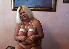 Big blonde self punishment