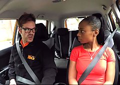 Ebony gets free driving lessons for sex