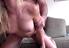 Plump man with small cock fucks sweet blond slut in various poses