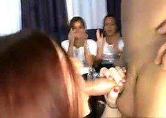 Big girl gives male stripper a handjob