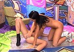Sizzling girls Janet and Kim fucks using dildo in a hardcore lesbian porn clip
