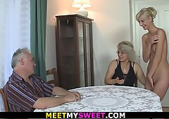super-naughty mummy licks her young pussy then old dad pummels