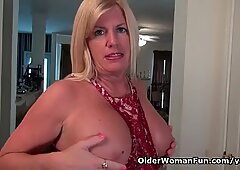American milf Blake slides out of her new dress for us